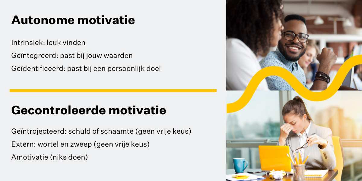 We onderscheiden twee vormen van motivatie: autonome motivatie en gecontroleerde motivatie.
